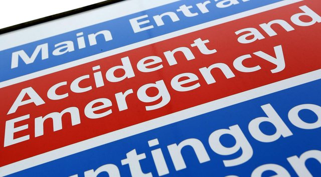 General view of an Accident and Emergency Sign at Hinchingbrooke Hospital in Huntingdon, Cambridgeshire.